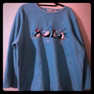 Penguin fleece pullover sweater plus size